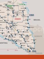 Carte de la région nord Paraguay : Le Chaco avec Paraguay Excepción