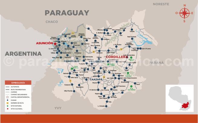 Carte de la région Cordillère, Paraguay avec Paraguay Excepción