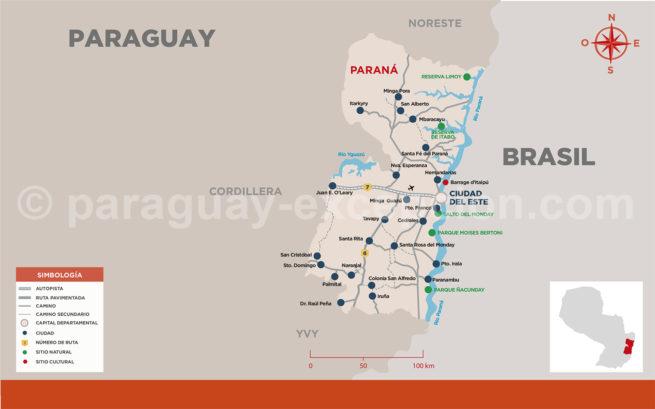 Carte de la région Paraná du Paraguay avec Paraguay Excepción