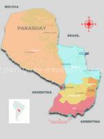 Carte du Paraguay par régions avec Paraguay Excepción