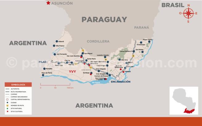 Carte de la région Yvy au Paraguay avec Paraguay Excepción