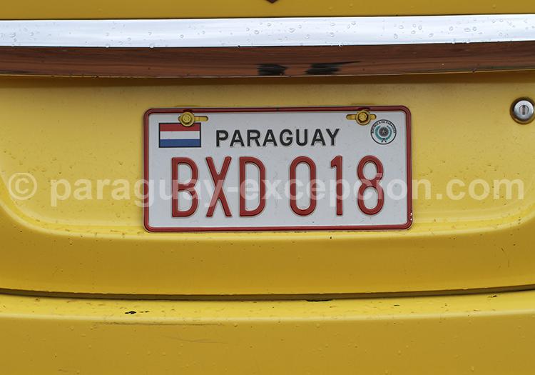 Plaque d'immatriculation du Paraguay avec Paraguay Excepción