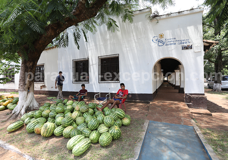 Vente de pastèque sur les trottoirs de San Ignacio Guazu, Paraguay