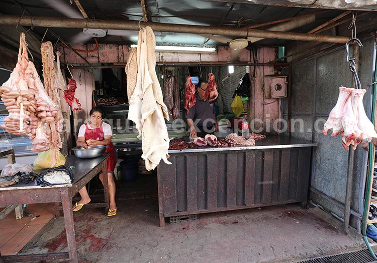 Etalage de viande au Paraguay, marché Abasto