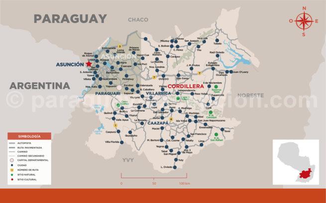 Carte de la région Cordillera, au Paraguay