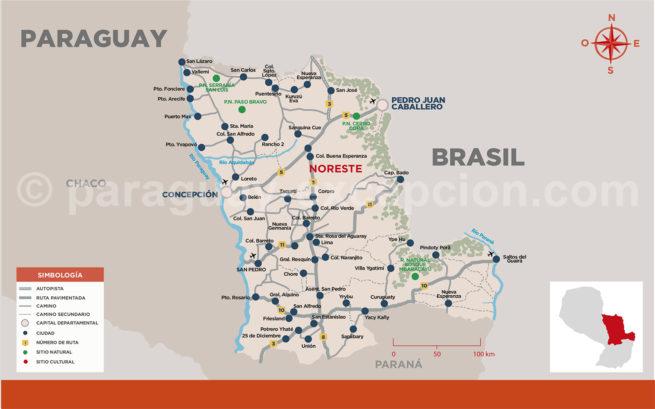 Carte de la région Noreste du Paraguay, Amérique du Sud