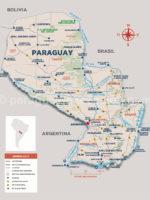 Carte du Paraguay, Amérique du Sud
