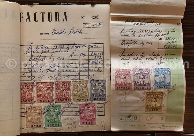 Vieille facture d'époque au musée Casa Raatz, Paraguay